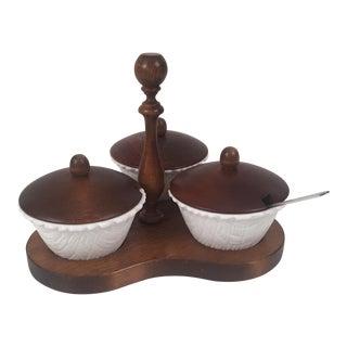 Mid-Century Wood & Milk Glass Serving Platter