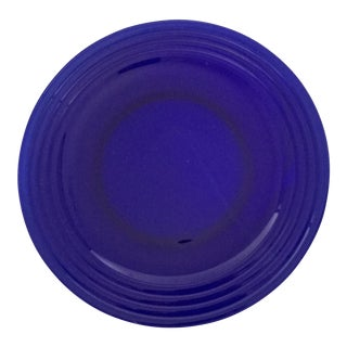 "Vintage 12"" Cobalt Blue Transparent Dinner Plates - Set of 6"