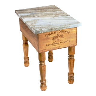 Italian Marble Top Wine Side Table