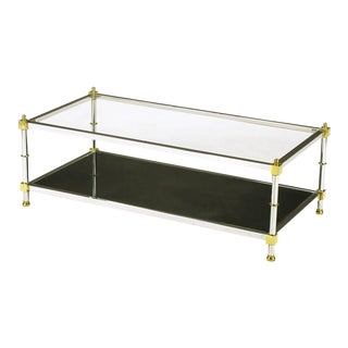 Chrome and Brass Coffee Table with Mirrored and Clear Glass