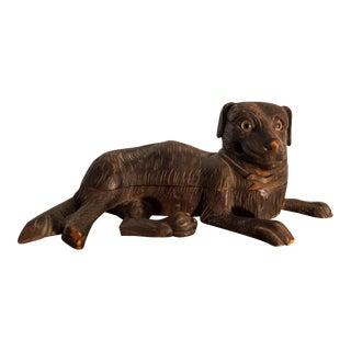 Vintage Hand-Carved Dog Smoking Stand Humidor