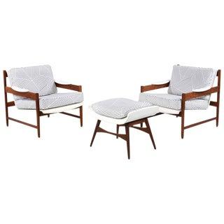 Mid-Century Modern Chairs & Ottoman - Set of 3