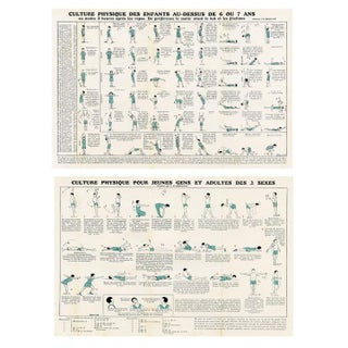 Vintage French Fitness Prints - Pair