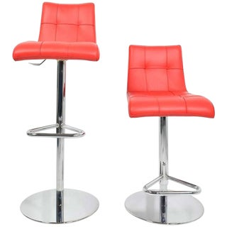 Pair of Italian Made Red Leather Adjustable/Swivel Bar Stools