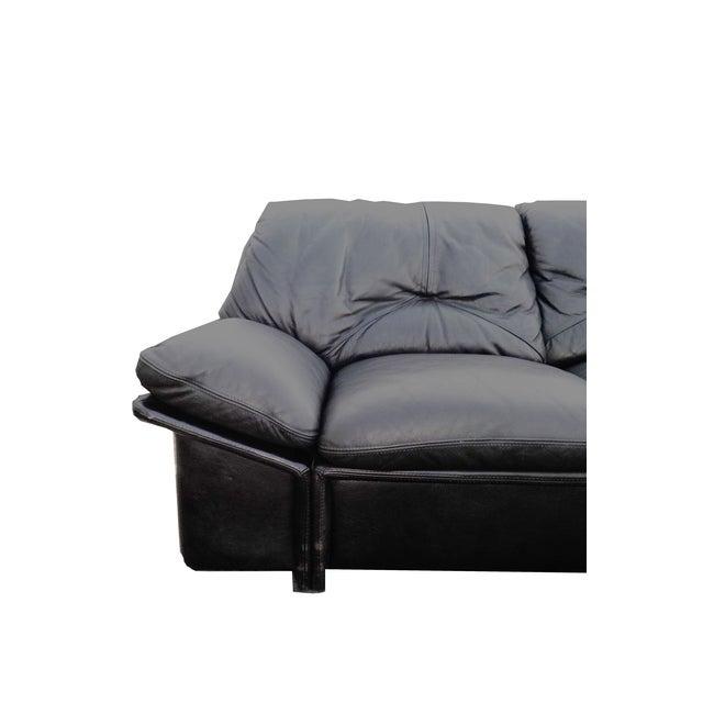 Image of Mid-Century Minimalist Black Leather Italian Sofa