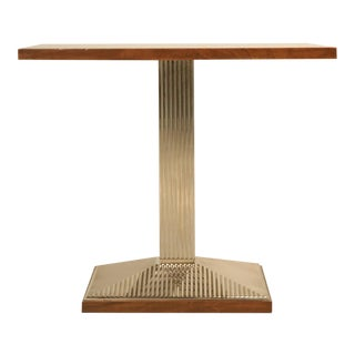 Art Deco Side Table in Walnut and Ribbed Metal (pair?)