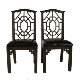 Vintage Chippendale Accent Chairs - Pair