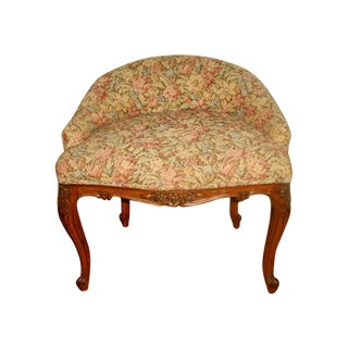 French Floral Brocade Vanity Stool