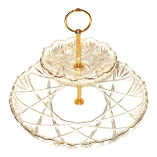 Gilt Gold & Crystal Cut 2 Tier Serving Tray