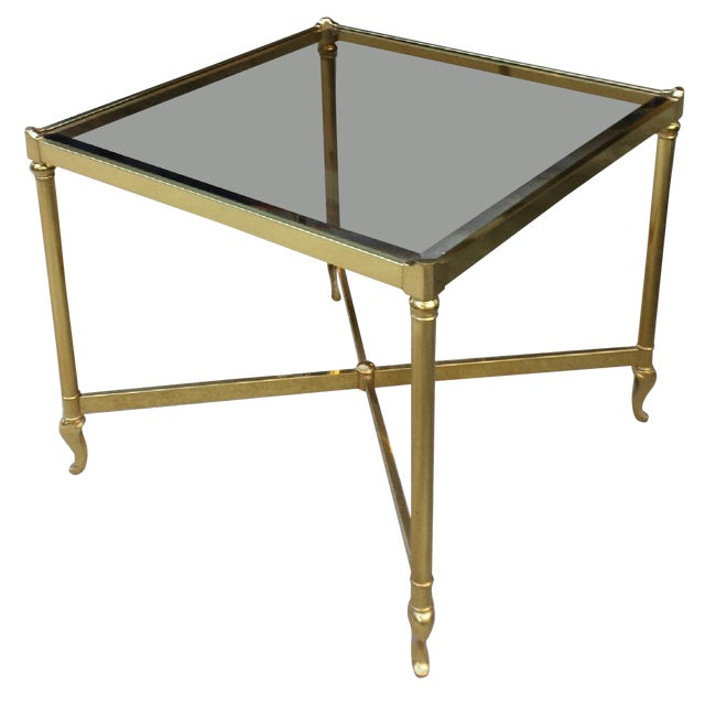 Drexel Heritage Brass Amp Glass End Table Chairish