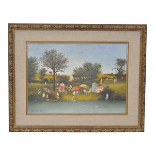 C.1950s Maurice Ghiglion-Green Oil on Canvas