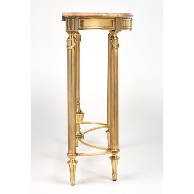 Neoclassic Marble-Top Brass Demilune Console Table - Image 7 of 11