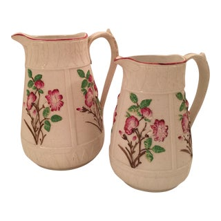 English Majolica Jugs - A Pair