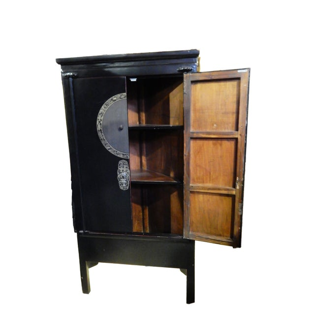 Image of Black Lacquer Corner Armoire