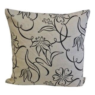 Black & Cream Floral Print Pillow