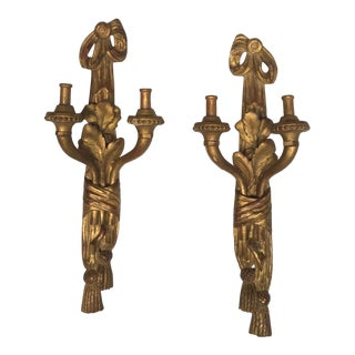 Painted Gold Candle Wall Sconces - A Pair
