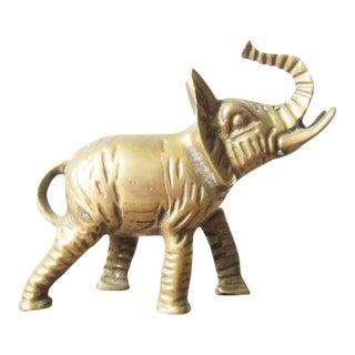 Vintage Brass Elephant Figurine - Regal Brass Elephant Figure - Jungle Paperweight