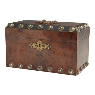 Burled Satin Mahogany Steel-Studded Container