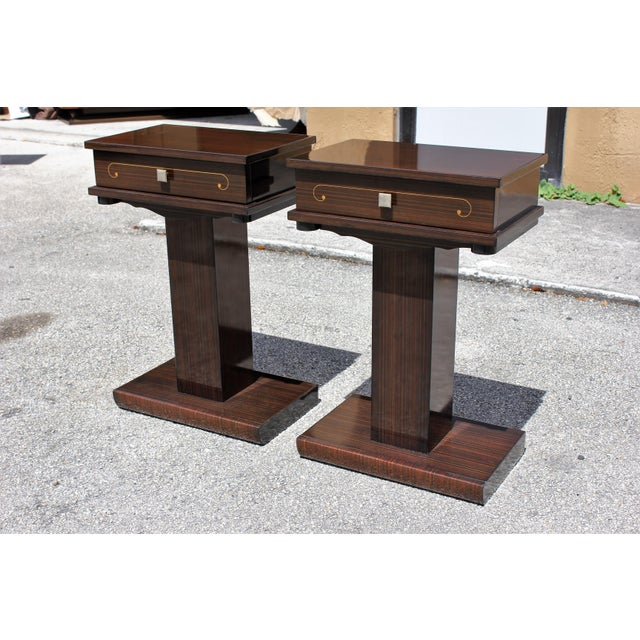 French Art Deco Macassar Ebony Nightstands - A Pair - Image 10 of 10