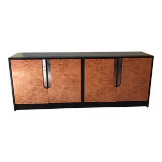 Milo Baughman Chrome Detailed Burl Front Sideboard