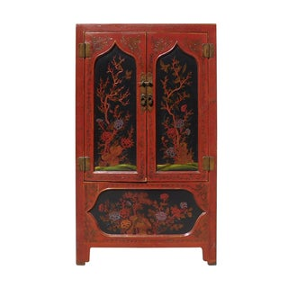 Red & Black Floral Armoire