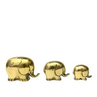Mid-Century Modern Brass Elephant Trio