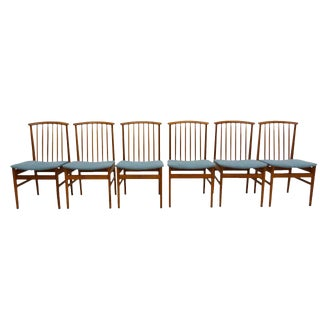 High Back Teak Dining Chairs by Sylve Stenquist for Dux, Set of 6