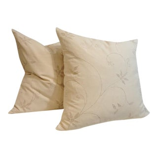 Pair of Amazing Cream Crewel Fabric Pillows with Linen Backing