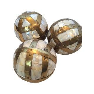 Vintage Brass & Capiz Shell Decorative Balls