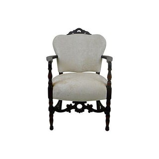 Mahogany Arm Chair in Cream Kravet