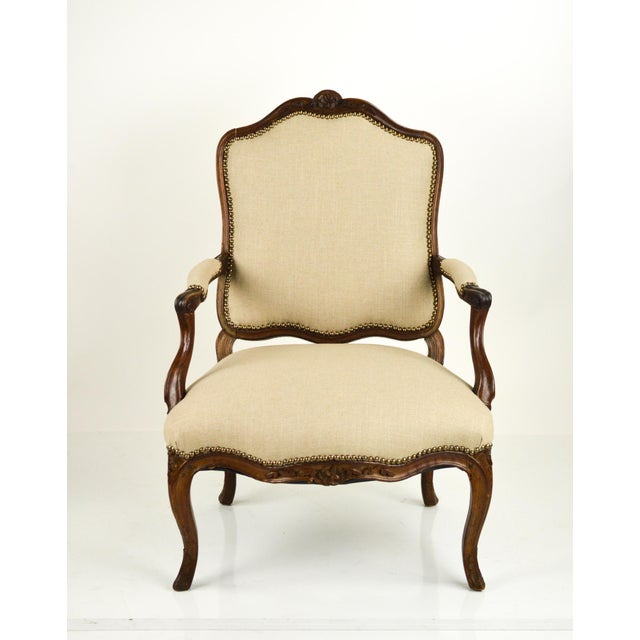 Louis Xv Style French Linen Fauteuil Chair Chairish