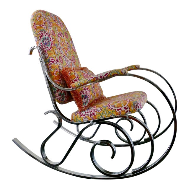 Vintage Mid-Century Modern Rocking Chair Upholstered in Brunschwig & Fils Fabric - Image 1 of 8