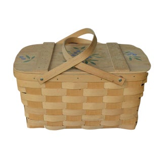 Blueberry Wooden Picnic Basket