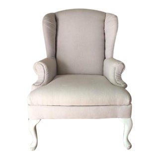 Vintage Neutral Linen Wingback Chair