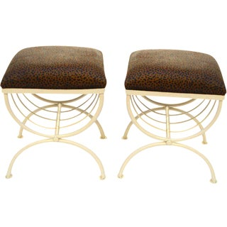 X-Base Upholstered Stools - A Pair
