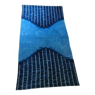 Large Japanese Indigo Shibori Tablecloth, Throw Blanket or Wall Hanging