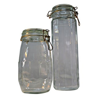 Clear Glass Canisters - A Pair