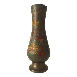 Vintage Brass Enameled Middle Eastern Floral Vase