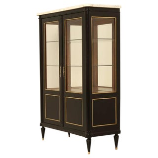 French Louis XVI Style Ebonized China Cabinet