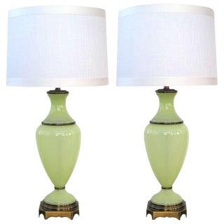 Paul Hanson Chartreuse Opaline Glass Lamps - A Pair
