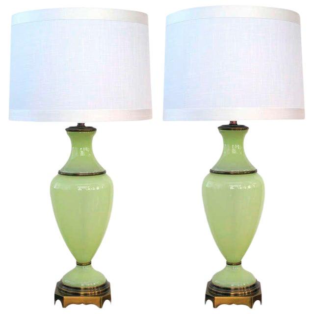 Vintage Paul Hanson Opaline Glass Lamps - a Pair - Image 1 of 5