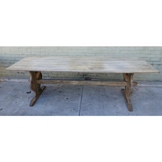 19th C. Carved Italian Trestle Dining Table - Image 3 of 11