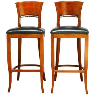 Burl Wood Back Moderne Bar Stools - Pair