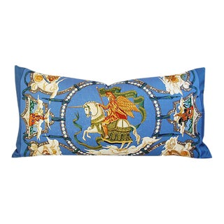 "34"" X 17"" Custom Tailored Hermes ""Cavaliers Des Nuages"" Silk Scarf Feather/Down Pillow"
