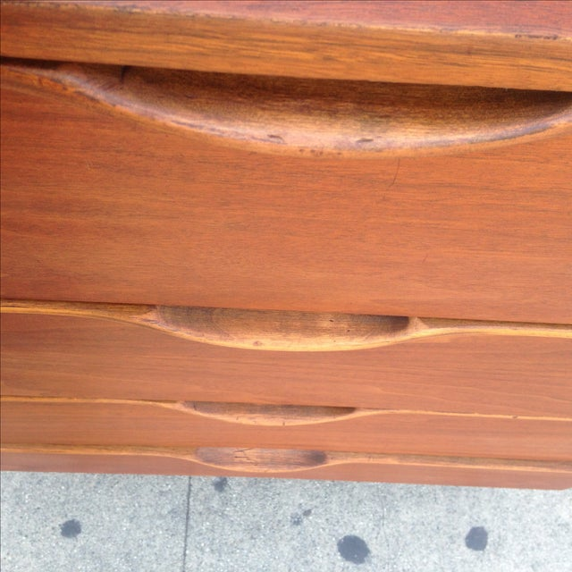 Walnut Mid Century Dresser with Sculpted Pulls - Image 8 of 9
