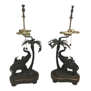 Bronze Elephants Under Palm Trees Table Lamps - a Pair