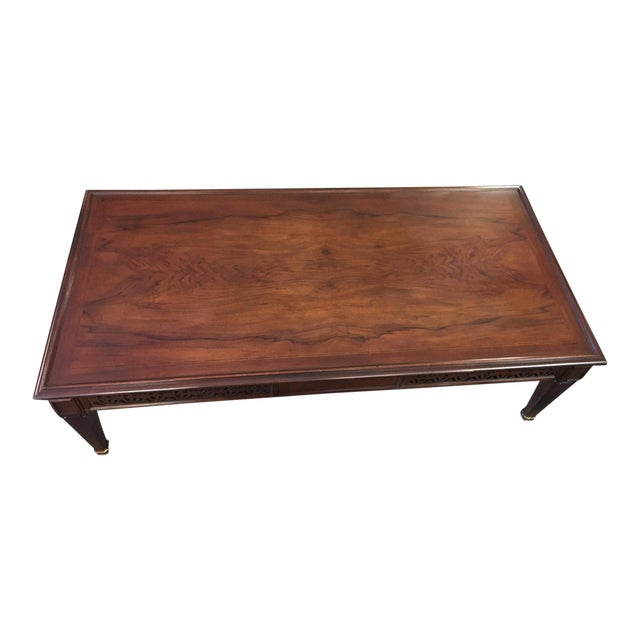 Baker oak brass coffee table chairish Baker coffee table