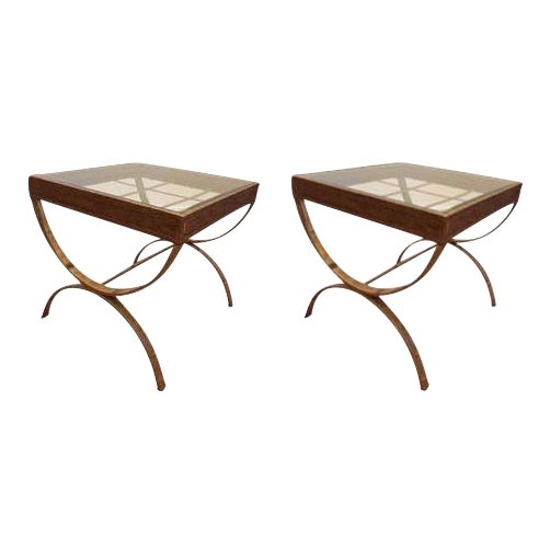 Glass Top Side Tables With Faux Gold Bases - A Pair - Image 1 of 5