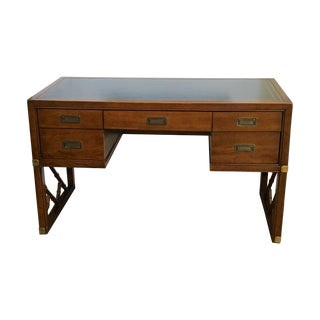 Campaign Desk by Sligh with Faux Bamboo Legs