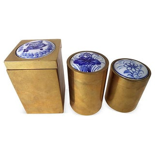 Asian Brass Trinket Boxes - Set of 3